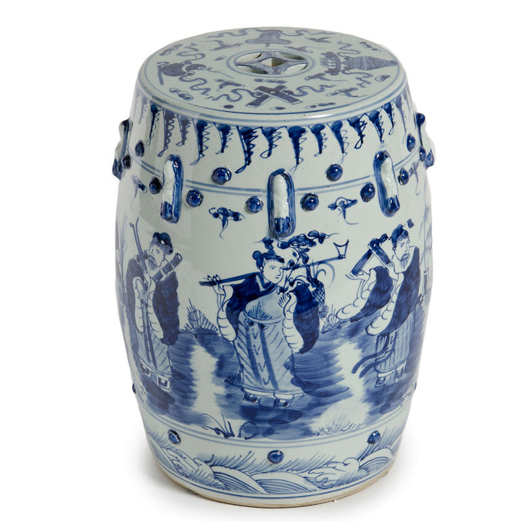 Blue & White 8 Immortals Garden Stool - Hattan Home - 2