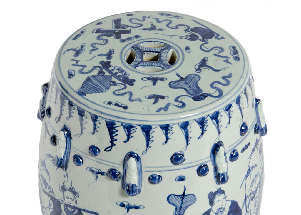 Blue & White 8 Immortals Garden Stool - Hattan Home - 3