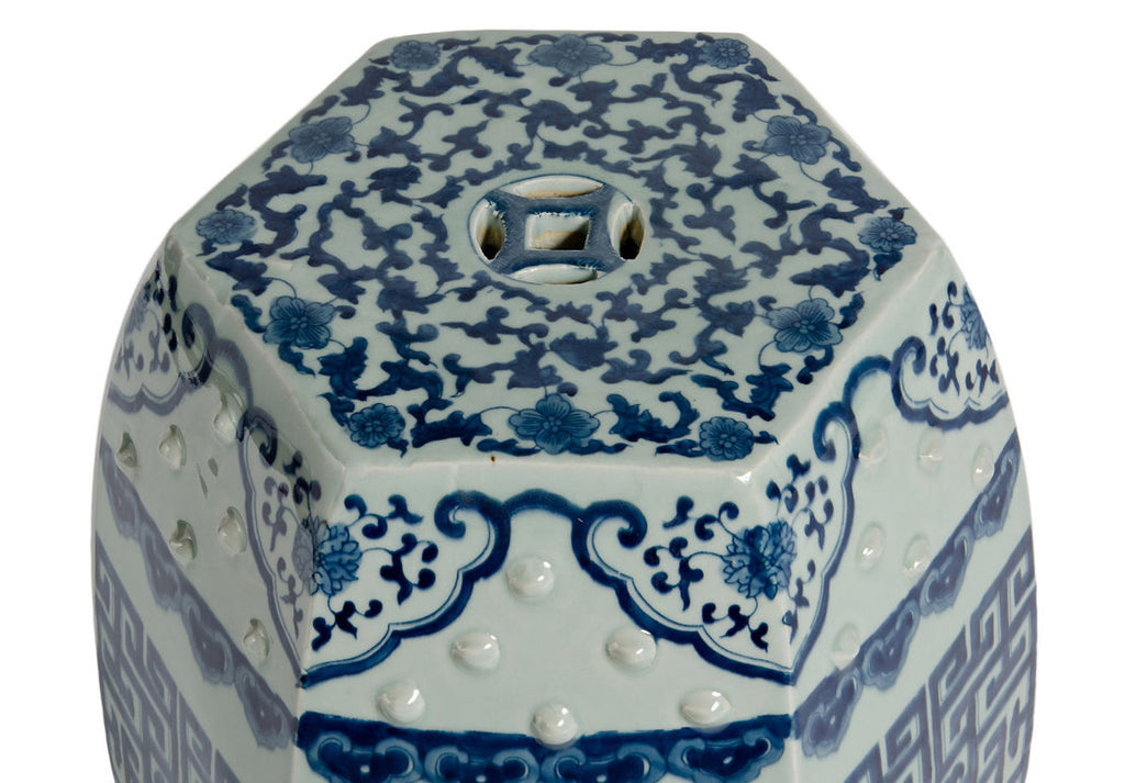 Blue & White Hexagonal Garden Stool - Hattan Home - 7