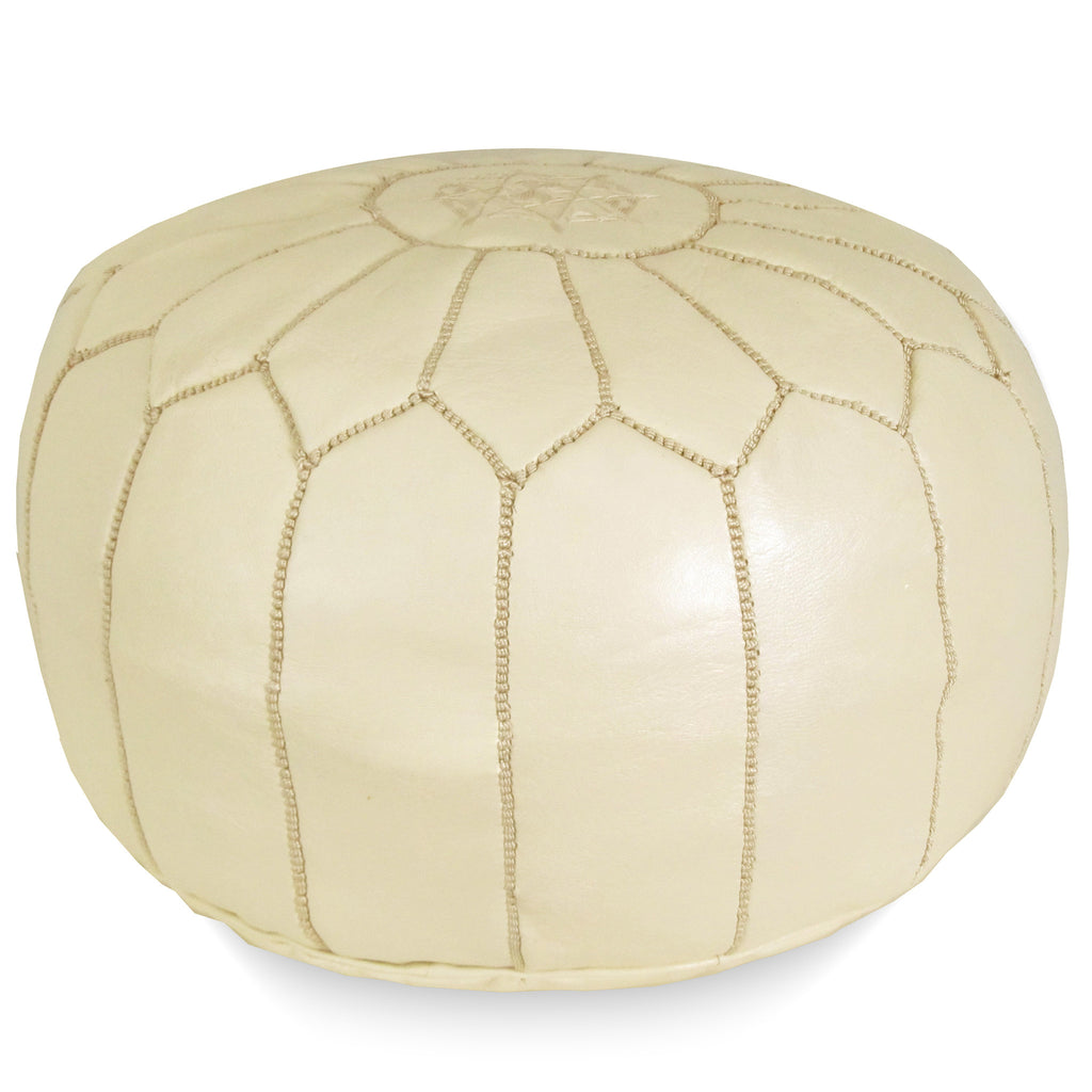 Moroccan Pouf in Cream - Hattan Home - 2