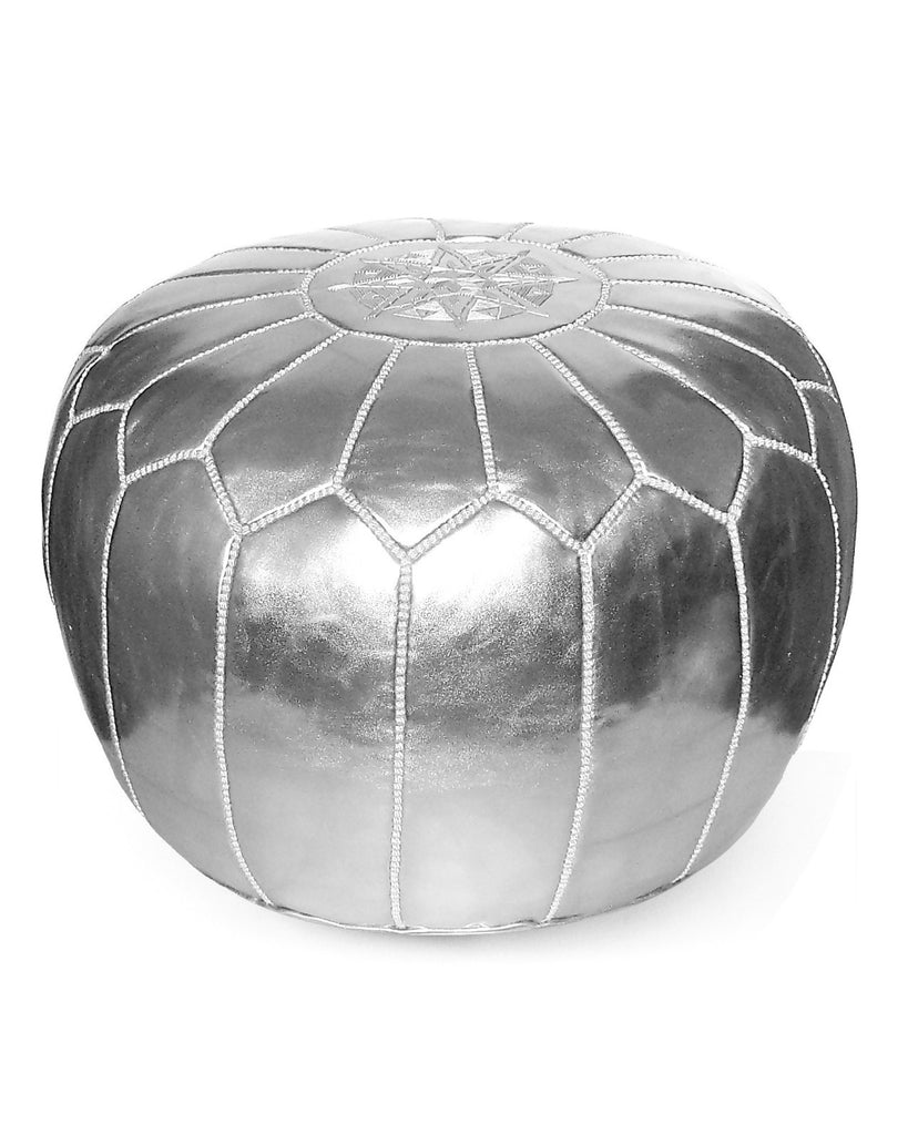 Moroccan Pouf in Silver - Hattan Home - 1