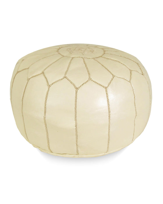 Moroccan Pouf in Cream - Hattan Home - 1
