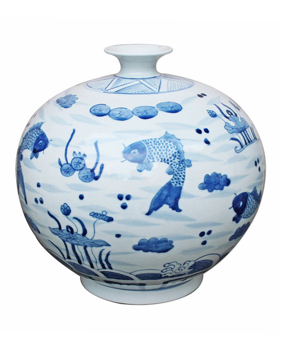 Blue + White Fish Pomegranate Vase - Hattan Home