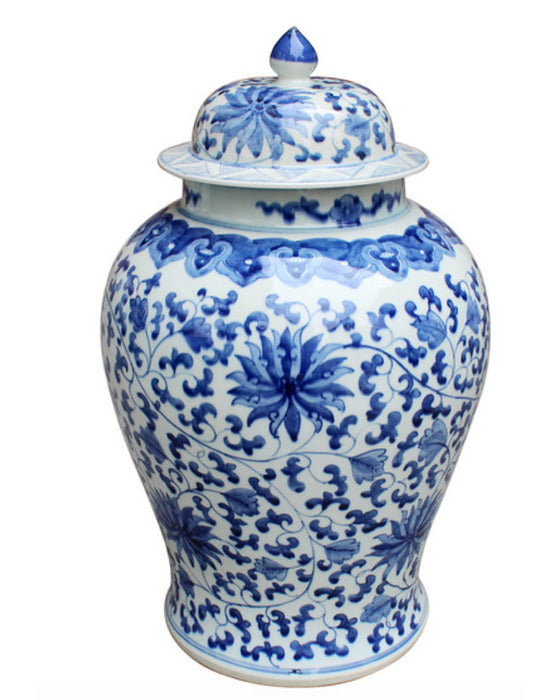 Blue + White Twisted Lotus Temple Jar - Hattan Home - 1