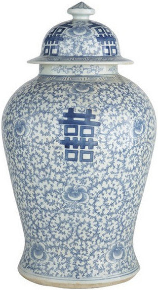 Blue & White Double Happiness Floral Temple Jar - Hattan Home - 2