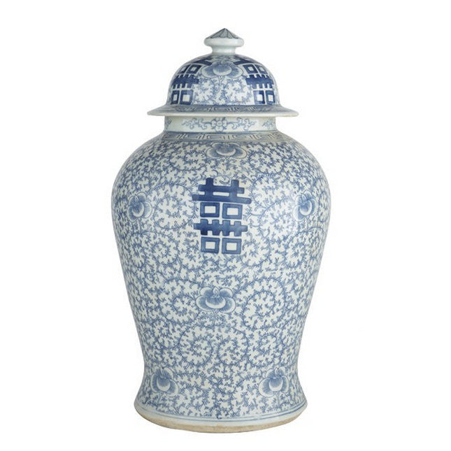 Blue & White Double Happiness Floral Temple Jar - Hattan Home - 3