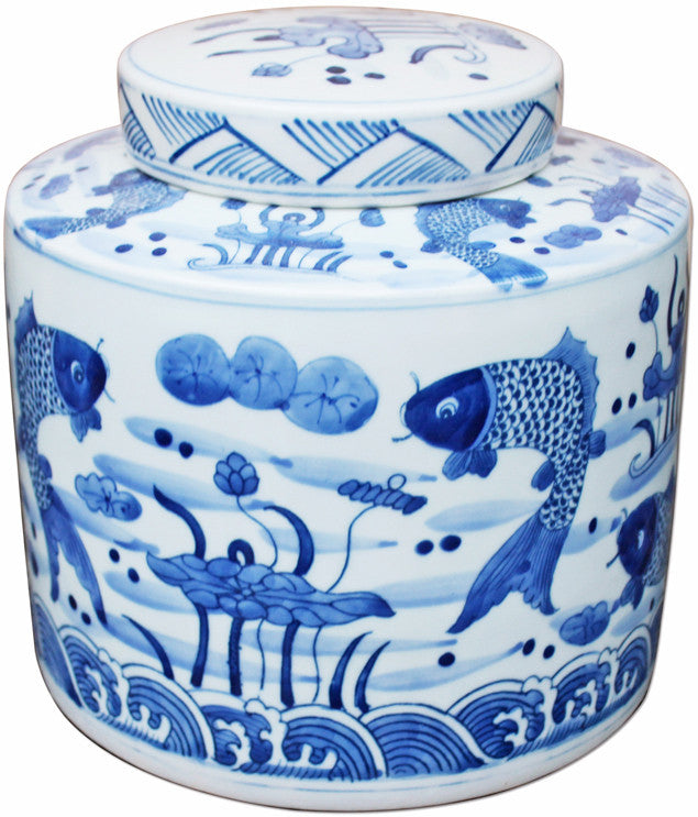 Blue & White Fish Cylinder Tea Jar - Hattan Home - 1