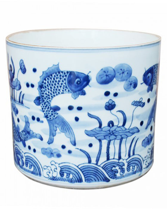 Blue + White Fish Orchid Pot - Hattan Home - 1