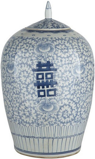 Blue & White Floral Double Happiness Ginger Jar - Hattan Home - 2