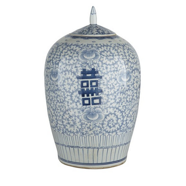 Blue & White Floral Double Happiness Ginger Jar - Hattan Home - 3