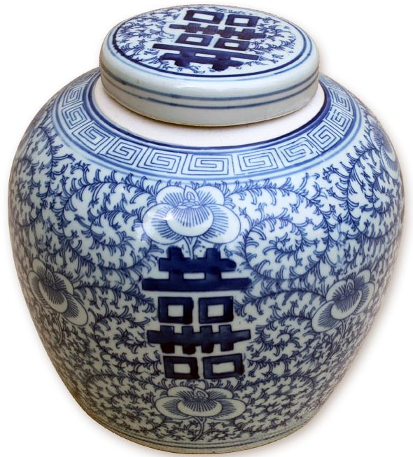 Blue + White Double Happiness Ginger Jar - Hattan Home - 2