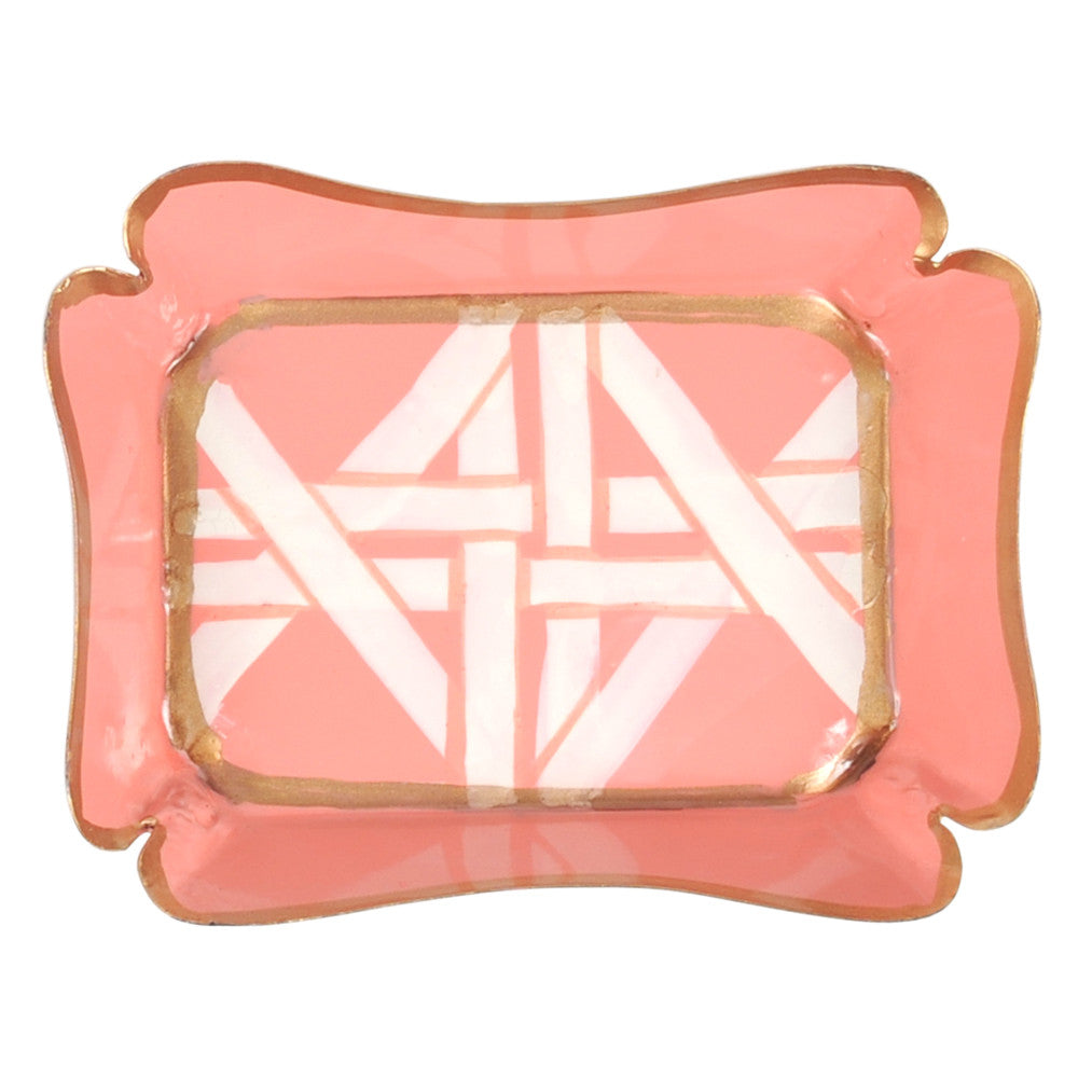 Tole Coral Cane Trinket Tray - Hattan Home - 4
