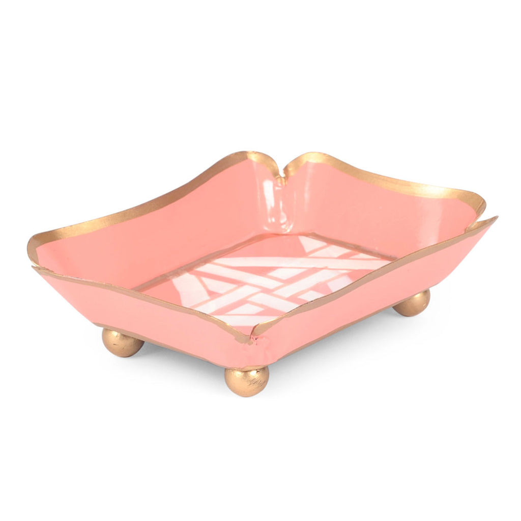 Tole Coral Cane Trinket Tray - Hattan Home - 2