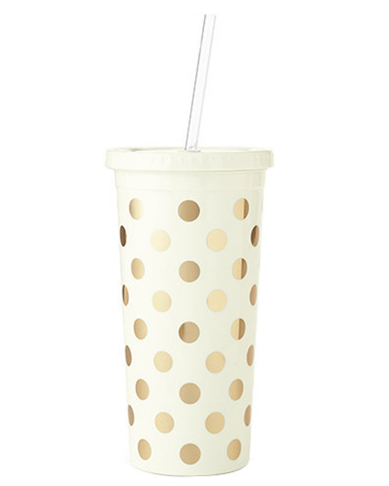 Kate Spade New York Gold Polka Dot Tumbler - Hattan Home - 1