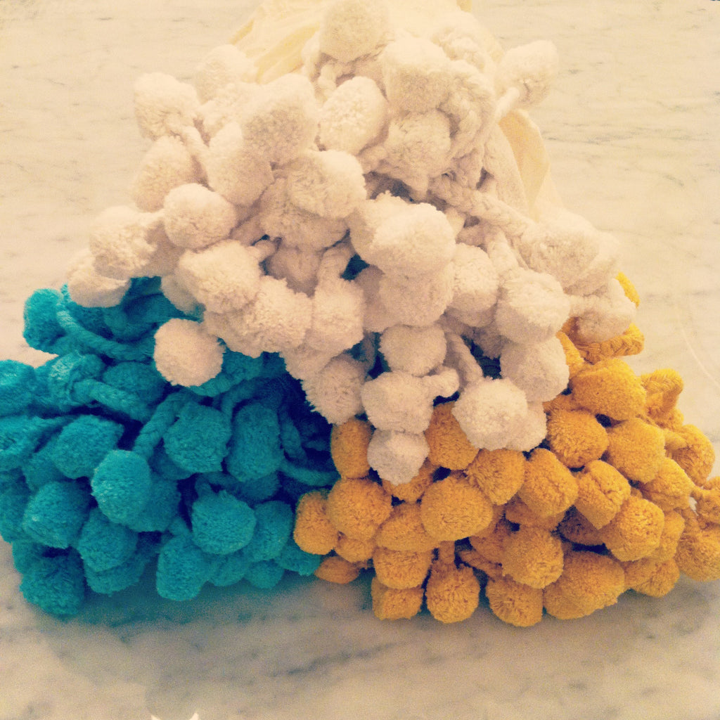 Pom Pom Throw in Turquoise - Hattan Home - 5