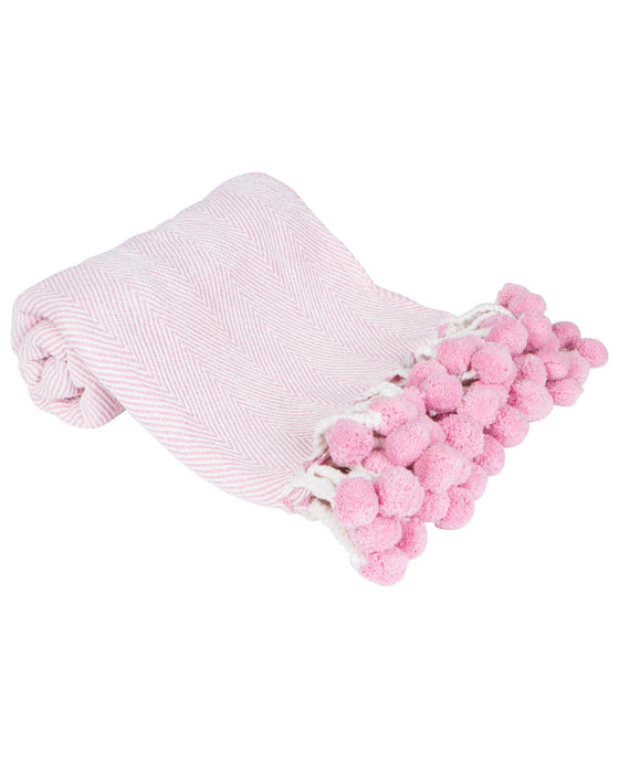 Pom Pom Throw in Light Pink Herringbone