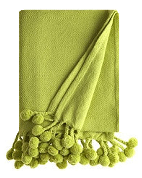 Pom Pom Throw in Lime Green