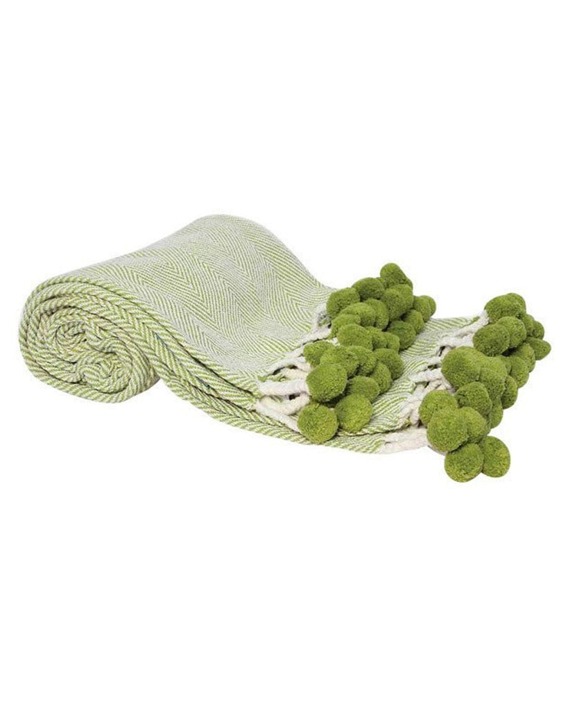 Lime Green Herringbone Pom Pom Throw