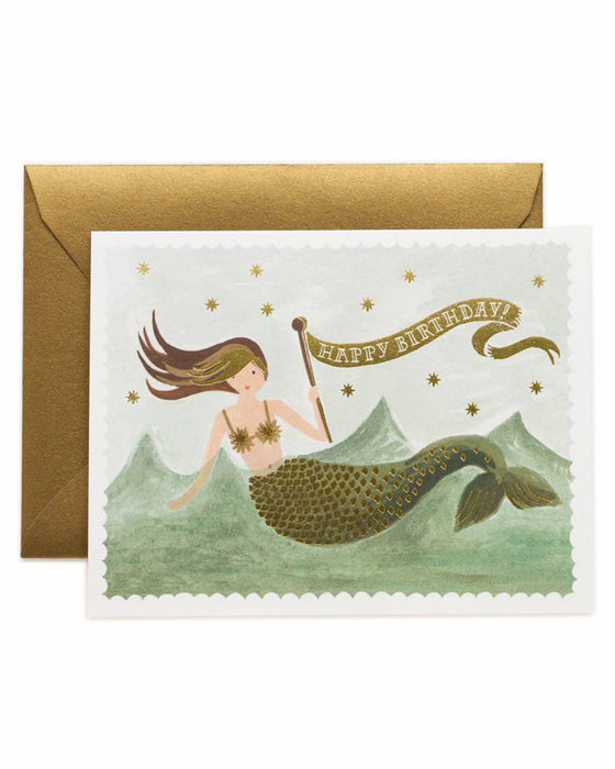 Rifle Paper Vintage Mermaid Happy Birthday Card