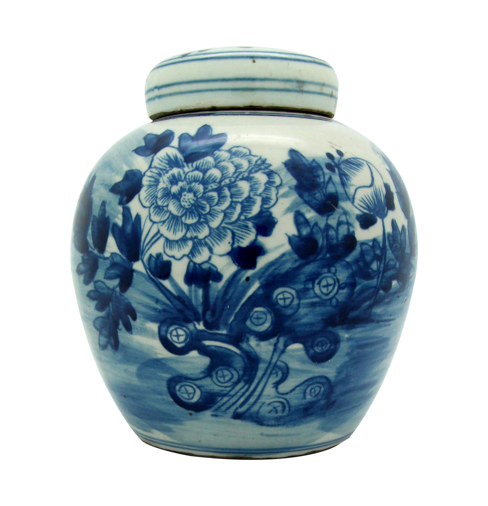 Petite Blue + White Lotus Flower Jar - Hattan Home - 2
