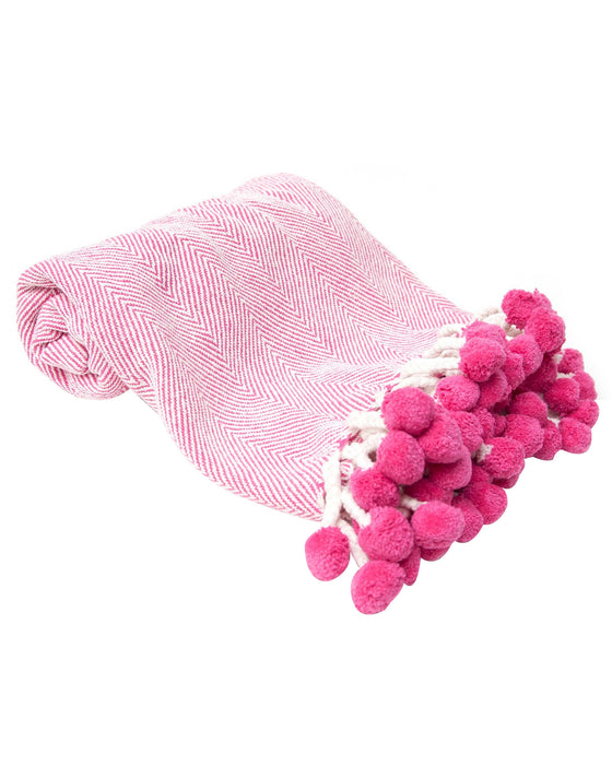 Hot Pink Herringbone Pom Pom Throw