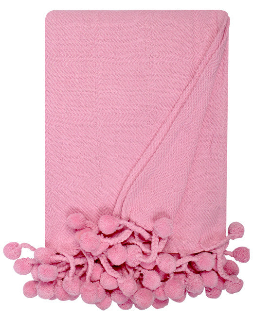 Pom Pom Throw in Light Pink - Hattan Home - 1
