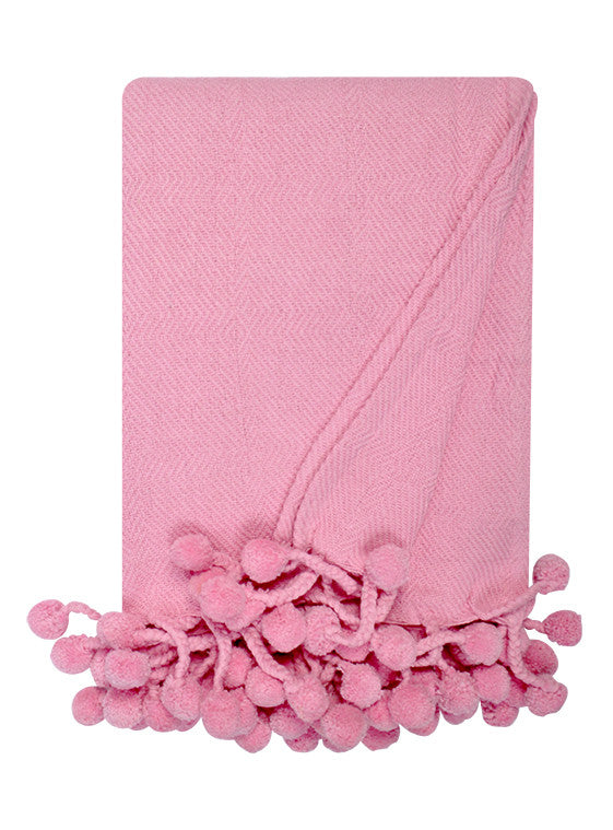 Pom Pom Throw in Light Pink - Hattan Home - 2