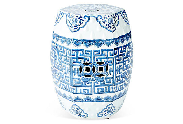 Blue & White Hexagonal Garden Stool - Hattan Home - 3