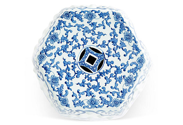 Blue & White Hexagonal Garden Stool - Hattan Home - 5