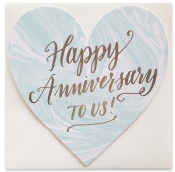 Happy Anniversary Silver Foil Marble Heart Card - Hattan Home - 3