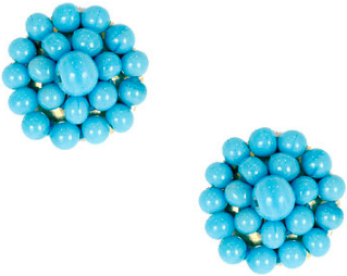 Lisi Lerch Button Earring in Turquoise - Hattan Home - 2