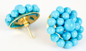 Lisi Lerch Button Earring in Turquoise - Hattan Home - 3