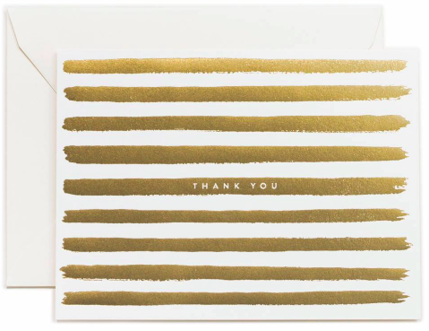 Rifle Paper Thank You Gold Stripe Greeting Card - Hattan Home - 2