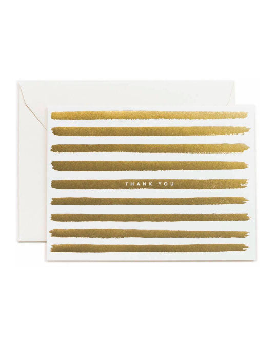 Rifle Paper Thank You Gold Stripe Greeting Card - Hattan Home - 1