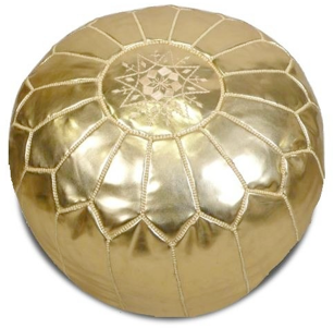 Moroccan Pouf in Gold - Hattan Home - 2