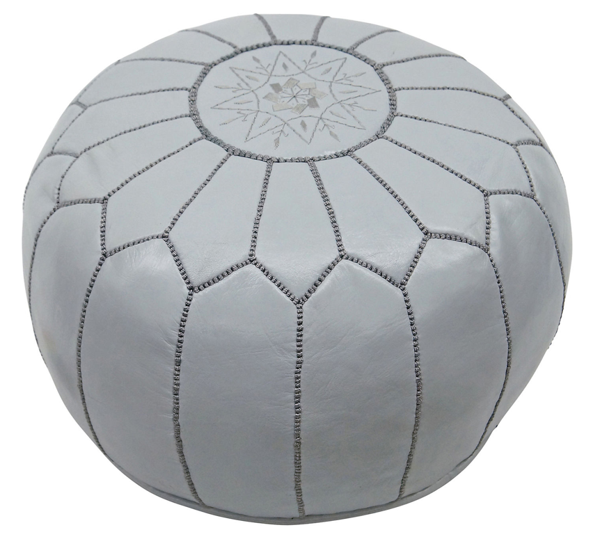 Moroccan Pouf in Light Grey - Hattan Home - 2