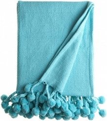 Pom Pom Throw in Turquoise - Hattan Home - 3