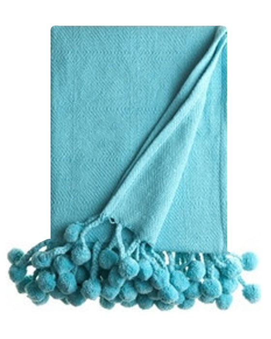 Pom Pom Throw in Turquoise