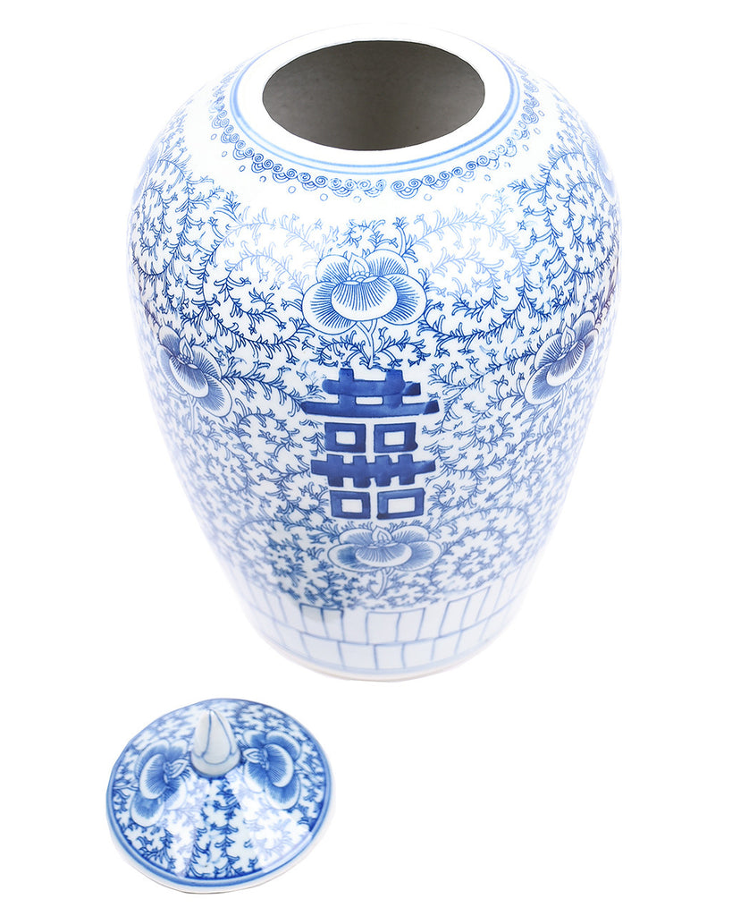 Blue & White Floral Double Happiness Ginger Jar - Hattan Home - 4