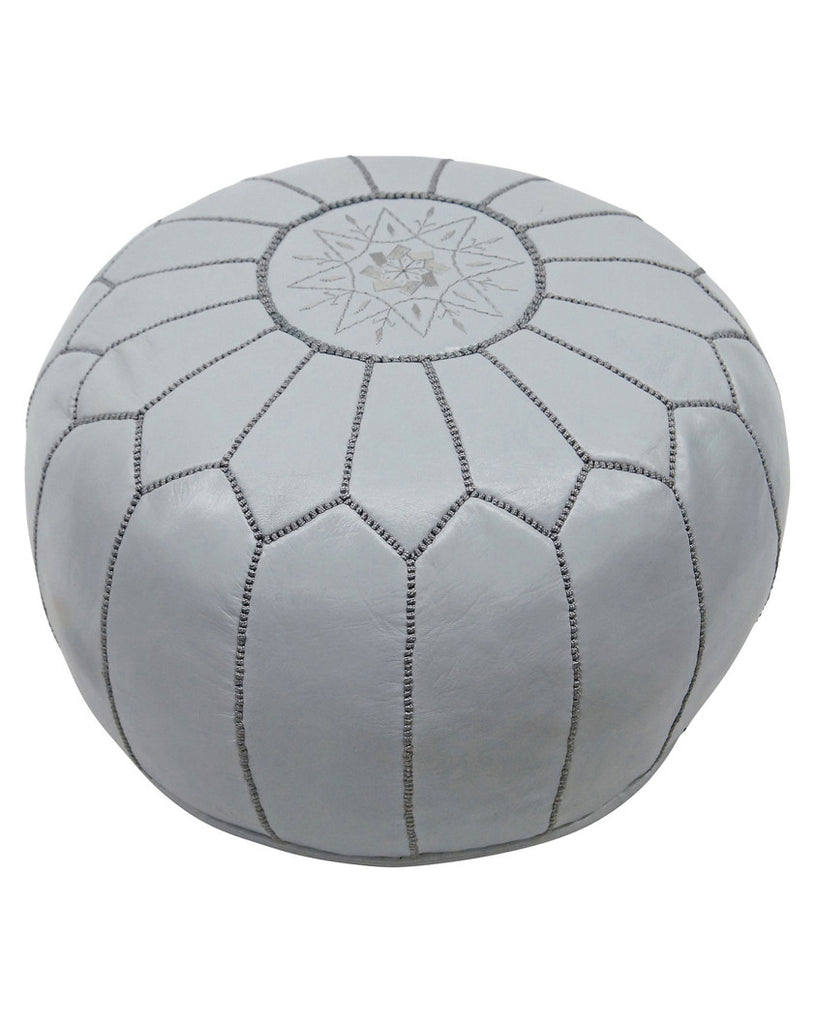Moroccan Pouf in Light Grey - Hattan Home - 1