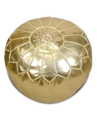 Moroccan Pouf in Gold - Hattan Home - 1