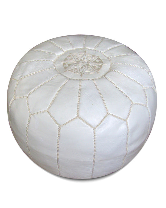 Moroccan Pouf in White - Hattan Home - 1