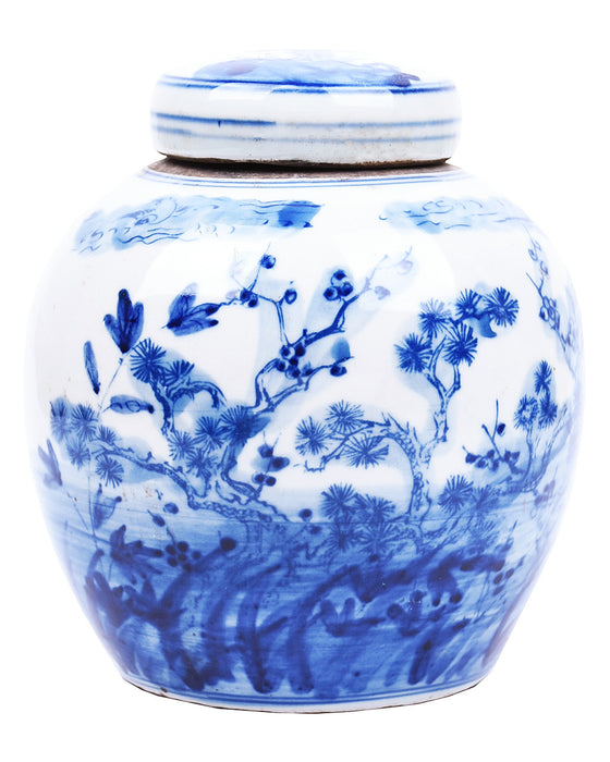 Petite Blue + White Landscape Ginger Jar - Hattan Home - 1