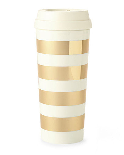 Kate Spade New York Gold Stripe Thermal Mug - Hattan Home - 1