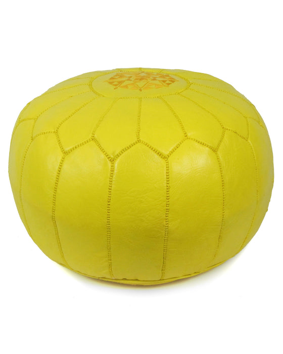 Moroccan Pouf in Yellow - Hattan Home - 1
