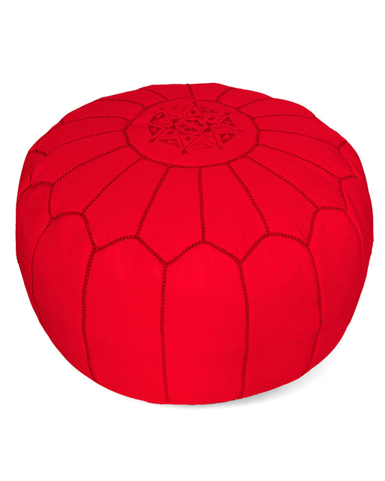 Moroccan Pouf in Bright Poppy Red - Hattan Home - 1