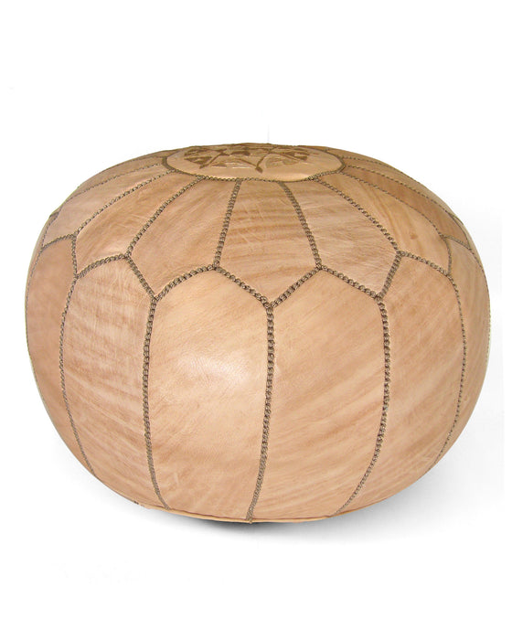 Moroccan Pouf in Tan - Hattan Home - 1