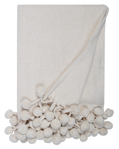Pom Pom Throw in Cream - Hattan Home - 1