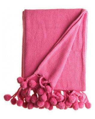 Pom Pom Throw in Hot Pink - Hattan Home - 1