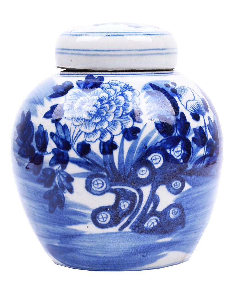 Petite Blue + White Lotus Flower Jar - Hattan Home - 1